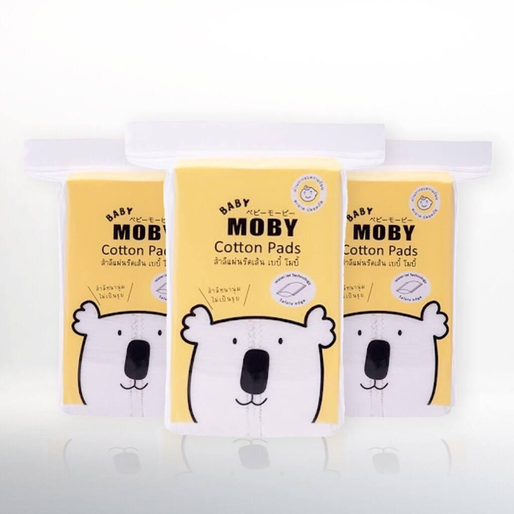 Moby สําลีแผ่นเล็กรีดข้าง รุ่น water jet cotton pads